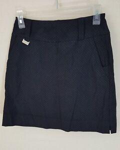 Golf Skirt Black Lisette Montreal Womens Skort Cute Tone on Tone Size 2 Stretch