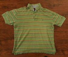 Tommy Hilfiger Green Striped Polo Shirt Mens Size Large