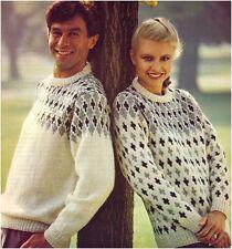 His&Hers Aran Yarn Fair Isle Yoke & All-over Patterned Sweaters Knitting Pattern
