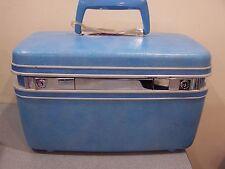 Vintage Retro 60's Samsonite Silhouette Blue Hard Makeup Train Case Luggage