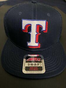 TEXAS RANGERS OFFICIAL MLB TRUCKER EMBROIDERED LOGO SNAPBACK MESH HAT BLUE NEW