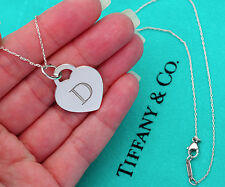 Tiffany & Co Sterling Silver Alphabet Initial D Heart Tag Charm Pendant Necklace
