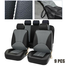 9PCS Universal Car Seat Covers PU Leather Interior Front & Rear Seat Protector