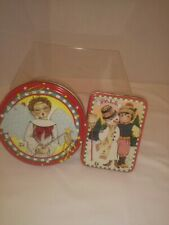 Mary Engelbreit Collectible Tins. Set of 2. Christmas Scenes. Small, Vintage.