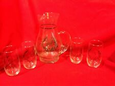 Silver 25th Anniversary Pitcher and 4 glasses Silver Overlay