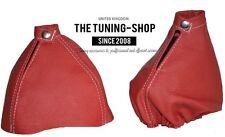 For Alfa Romeo 159 05-11 Gear & Handbrake Gaiter Red Leather Stitching White