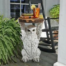 "20.5"" Hand Carved Majestic White Owl Sculptural Side Accent Table"