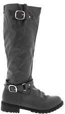 NEW Gray KNEE HIGH FLAT Buckle Zipper RIDING BIKER TALL BOOTS Faux Leather Sz 7