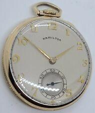Vintage Working 1947 HAMILTON 921 Art Deco 10K Gold G.F. 21J Gents Pocket Watch