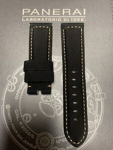 Panerai OEM 24mm Black Canvas Strap w Beige Stitch for Tang Buckle