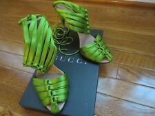GUCCI Tom Ford Green Silk Corset Women's Shoes Sandals Crocodile Leather Heels 7
