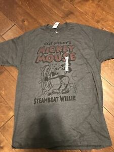 WALT DISNEY'S MICKEY MOUSE IN STEAMBOAT WILLIE ADULT T-SHIRT LARGE NWT