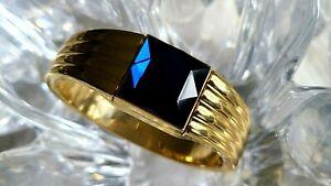 Gruen Diamond Blue Crystal Flip-Dial Cover Gold Tone Bangle Ladies Watch (342)