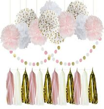 Qian's Party Baby Pink and Gold White Baby Shower for Girl/Party Paper Deco NEW