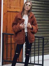 UK Womens Oversized Teddy Bear Coat Ladies Faux Fur Borg Zip Jacket Size 8 - 22