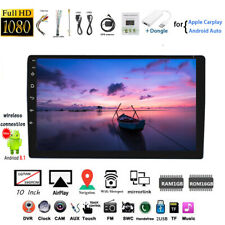 10''2 Din Android GPS Car Radio +Airplay Dongle Siri Wifi iOS Touch Screen BT FM