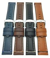 Mens Leather Watch Strap Band 22mm 24mm Black Blue Brown Tan Fit Fossil & More