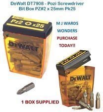 DeWalt DT7908 - Pozi Screwdriver Bit Box PZ#2 x 25mm Pk25 ** PURCHASE TODAY **