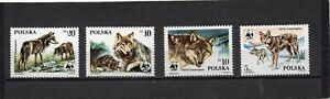 POLAND 1985 WILD ANIMALS/WOLVES SET OF 4 STAMPS MNH
