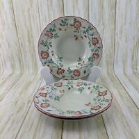 Churchill Briar Rose Fine English Tableware Rimmed Soup Bowls Set Of 3 Pink Rim