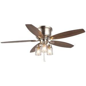 Ceiling Fan Light Kit 52 in Reversible 5-Blade LED Indoor Outdoor Brushed Nickel