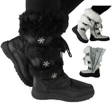 Womens Boots Winter Ladies Lace Up Mid Calf Flat Warm Fur Snow Boots Shoes Size
