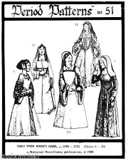Period Patterns Early Tudor Women's Gowns 1490-1535 size 6-20 Sewing Pattern 51