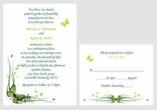 100 Personalized Custom Green Butterfly Bridal Wedding Invitations Set Cards