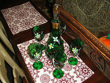 J & S Hand Cut Hand Painted Decanter W/5 Glasses-Painted Glass-Floral Art Glass