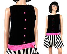 Vintage 60s Scooter Dress XS Black White Pink Velvet Satin Sleeveless Mod Stripe