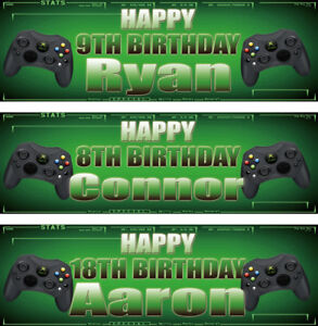 2 personalised birthday banner xbox game children kids party poster decoration