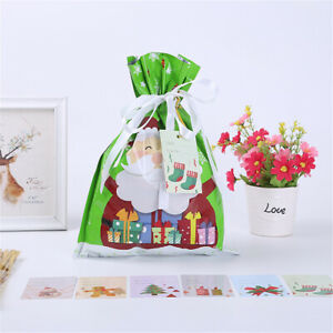 5Pcs Cute Drawstring Christmas Gift Bag Party Candy Bags Cookie Wrapping Pouch