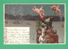 RARE 1902 MAILICK CHRISTMAS POSTCARD ANGELS DELIVER GIFTS TO SANTA SLEIGH DEER