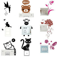 6pcs/Set Cat Wall Light Switch Stickers Vinyl Decals Art Mural Living Room Decor