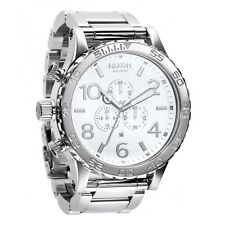 New Authenitc NIXON Watch 51-30 CHRONO Highpolish Silver White A083-488 A083488