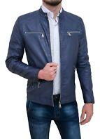 Giubbotto giacca uomo Diamond eco pelle blu casual giubbino moto slim fit
