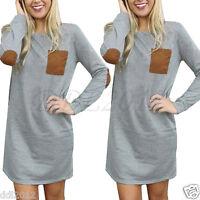 Fashion Women's Casual Loose Long Sleeve Tops T-shirt Blouse Short Mini Dress AU