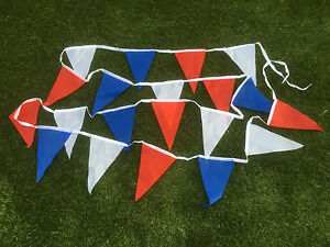 Red White & Blue Fabric Bunting - various lengths - free 1st class post