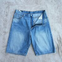 Mens LEVIS 569 Denim Shorts Size W36 Light Blue Loose fit straight relaxed Jeans