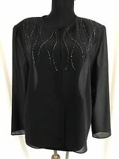 New Adrianna Papell Evening Essentials Black Silky Sheer Beaded Accent Top - PL