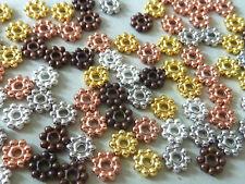 100 Metallperlen Metallspacer Daisy Rondell Mix Mischung gold silber kupfer 2511