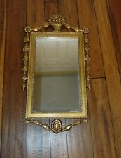 Wall Hanging Decorative Mirror Ornate Gold wood 1930's Flower Basket accent