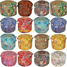 Indian Patchwork Ottoman Pouf Cover Round Floor Pillows Floor Cushion Cover