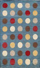 Polka Dot Modern Hand-knotted Blue Gabbeh kashkoli Oriental Area Rug 6x8 Carpet