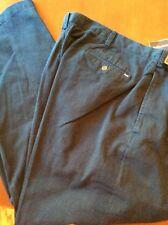 NEW RALPH LAUREN CLASSIC PLEATED PANTS KHAKIS CHINOS NAVY BLUE PLEATS 33 / 32