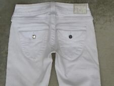 True Religion Jeans Women Disco Billy Straight Leg Flap Pocs White Sz 25
