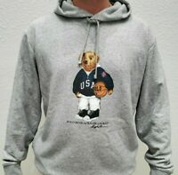 Ralph Lauren Men's SZ 2XL Gray USA Basketball Polo Bear Fleece Pullover Hoodie