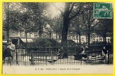 """cpa 75 - PARIS en 1911 SQUARE de la CHAPELLE Animés """" Georges HESDIN à TRICOT """""""