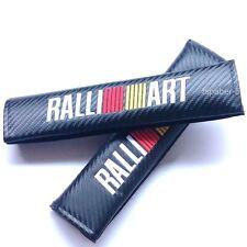 2pcs Ralliart Emblem Carbon Fiber Seatbelt Seat Belt Cover Shoulder Pads