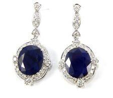 Oval Blue Sapphire & Diamond Drop Earrings 14K White Gold 21.17Ct